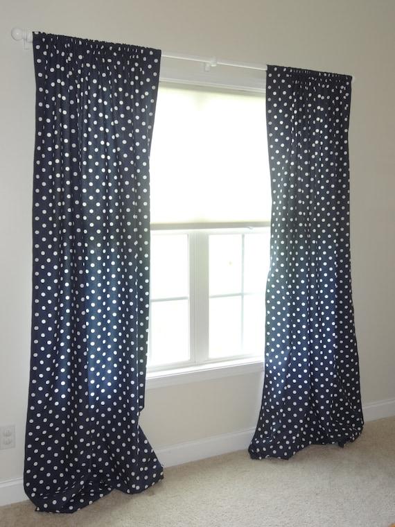 Items similar to Navy Polka dot Curtain panels, Polka Dot Curtain ...