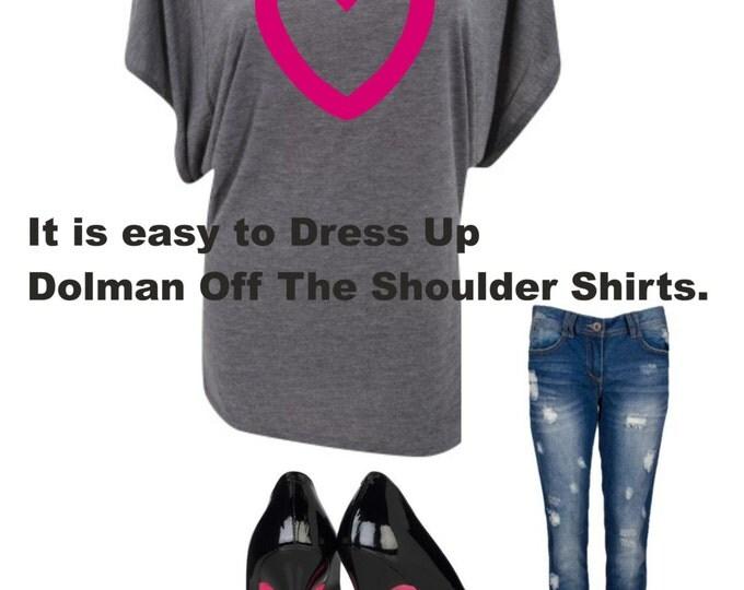 Ladies Valentines Day Shirt- Open Heart Dolman short sleeve off the shoulder tshirt .Valentines Day Shirt . Womens valentines day shirts .
