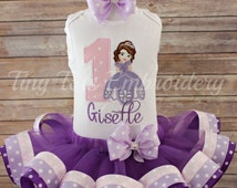 Sofia The First Birthday Tutu Outfit ~ Includes Top, Ribbon Tutu and Hair Bow ~ Customize In Any Colors of Your Choice!