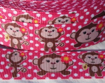 Monkey Ribbon 7/8 Inch Grosgrain Ribbon by the Yard for Hairbows, Scrapbooking, and More!!