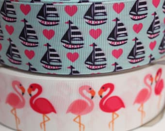 1.5 Inch Sailboat Flamingo Grosgrain Ribbon - Grosgrain Ribbon by the Yard for Hairbows, Scrapbooking, and More!!