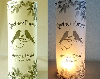 12 Personalized Love Birds Wedding Centerpiece Table Decoration Palm Leaves Luminaries