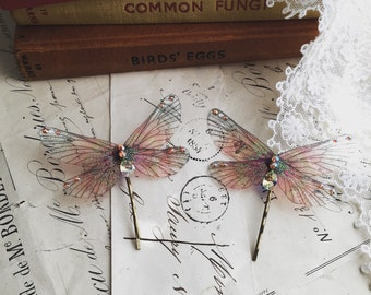 NEW Pretty autumnal Rainbow Faerie wing hair adornment