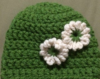 Adult hat with flower accents