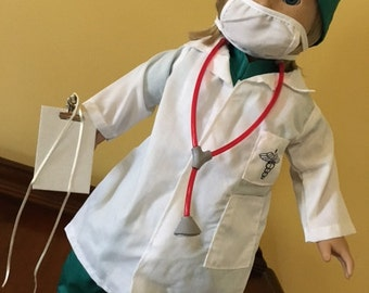 "SALE Fits American Girl Doll Clothes for boy or girl Scrubs Doctor Nurse Surgical Lab Coat for 18"" doll, EVERYTHING INCLUDED!"