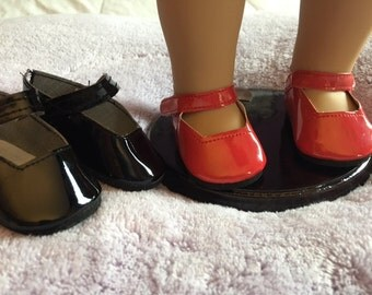 "Doll shoes Mary Janes fits BOTH  18"" doll and Bitty Baby"