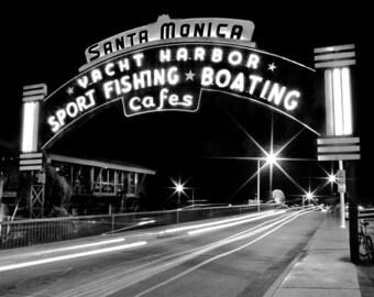 Santa Monica Pier Sign Photography Print or Canvas Black and White Night Los Angeles California Fine Art Photograph Print Wall Decor