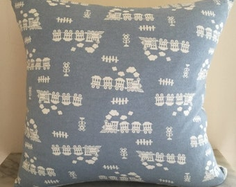 Brushed Cotton Baby Blue Train Cushion Pillow Cover