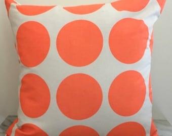Orange Spots on Natural Canvas Cushion Pillow