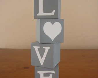 LOVE wooden letter blocks for home decor and decorating/valentines day - Wood decor, Word blocks