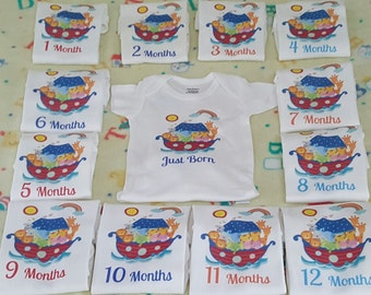 Month By Month Noah's Ark  onesies