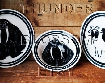 Karen Donleavy porcelain walrus cow plates bowl magnets