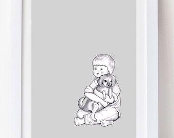 Nursery Print, Nursery Art, Boy's nursery art, Boy's Nursery, monochrome nursery, Grey Nursery, Cute Animal Art, New Baby Gift, A4 print