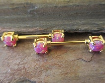 Pink 14K Gold Plated Pronged 5mm Fire Opal Nipple Barbell Sold Individually or as a Pair
