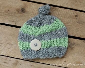Knot Top Stripe Newborn Hat, Newborn Stripe Hat, Knot Top Hat, Newborn Boy Hat, Knit Newborn Hat, Striped Newborn, Handknit Newborn Hat, Hat