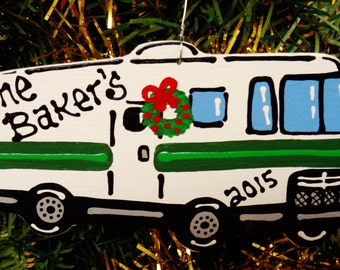 U CHOOSE Name and Year MOTORHOME Rv Camper Personalized Christmas ORNAMENT Camping Campsite Camp Holiday Decor