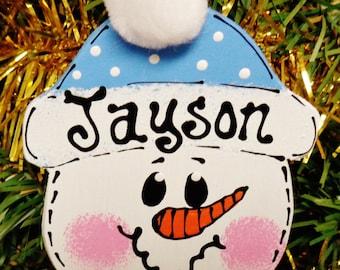 Blue Hat U CHOOSE NAME & YEAR Personalized Snowman Christmas Ornament Kids
