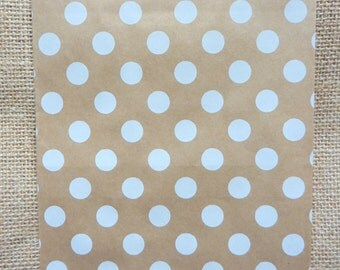 25 Medium Kraft Paper Dots Bags 18 x 13 cm