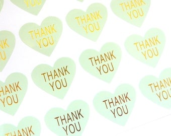 48 Heart Shaped Mint Green and Gold 'Thank you' Stickers 3cm