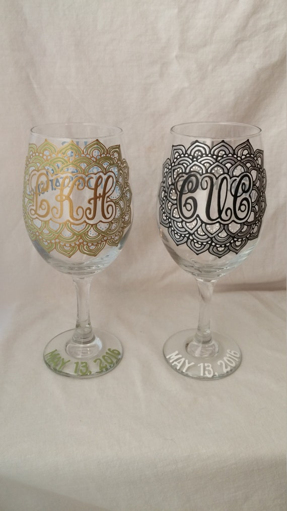 Items similar to graduation gift hand painted wine glass for Painted wine glasses with initials