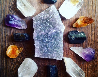 Crystal Grid Collection Raw Crystal Healing Crystals and Stones Rough Stones Raw Amethyst Bohemian Decor Spiritual Healing Grid Stones