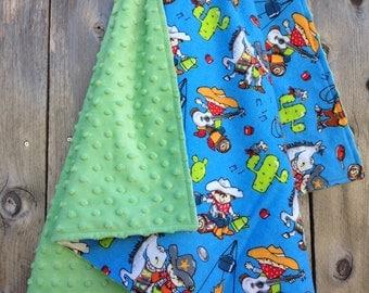 Little cowboy baby blanket - baby western theme blanket - blue baby blanket - baby shower gift - little buckaroo blanket
