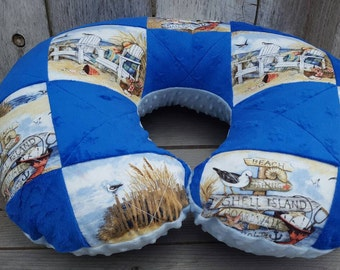 Patchwork Boppy-Beach Boppy-baby boy Boppy-Blue minky Boppy-quilted Boppy-Newborn Boppy-Shower gift