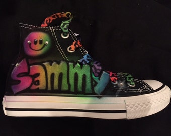 airbrushed converse rainbow personalize rainbow smile face airbrushed converse
