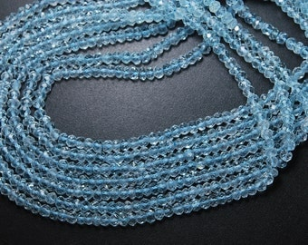 13 Inches Strand, Natural Genuine Sky Blue Topaz Faceted Size Rondelles, 3.8-4mm