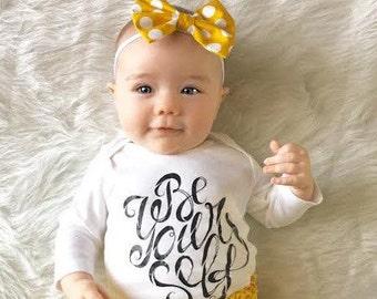 Mustard polka dot classic bow | headband