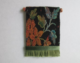 Dollhouse Wall Tapestry, black & rust floral, 2x3""