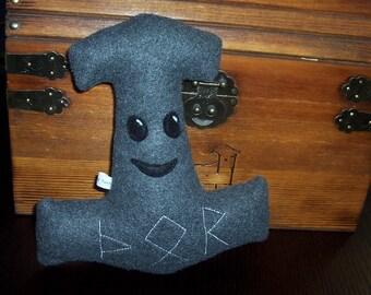 Mini Mr. Mjolnir Thor's Hammer Plush Stuffed Toy - Heathen Pagan Viking Norse Plush Pillow Home Decor - Made to Order