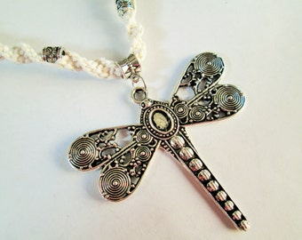 Large Steampunk Silver Dragonfly Pendant on Handmade White Hemp Twist Necklace with Matching Silver Beads