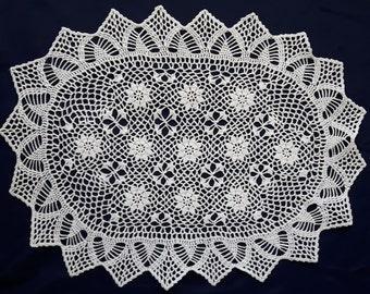 Vintage oval crochet doily