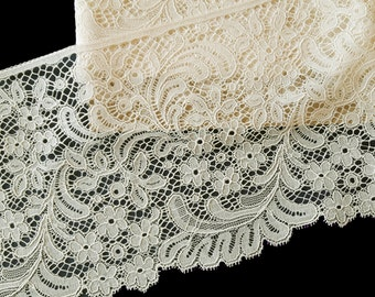 7 yards ivory floral lace trim
