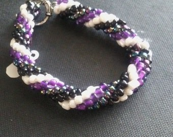 Colored Crocheted Beaded Bracelet