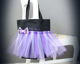 Girls Personalized Black and Purple Tote Bag / Dance Bag / Tutu Tote / Monogrammed Tote / Tutu Bag / Birthday Bag / Girls Gift Bag