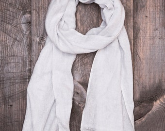Light Grey Cashmere Scarf - Made in Nepal - 60''x11.5'' - 501(C)(3) Nonprofit Store