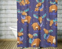 Shower Curtain  Moose Woodland Purple Background Adorable Colorful