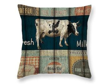 Primitive Rustic Advertising Cow Throw Pillow Dairy Farm