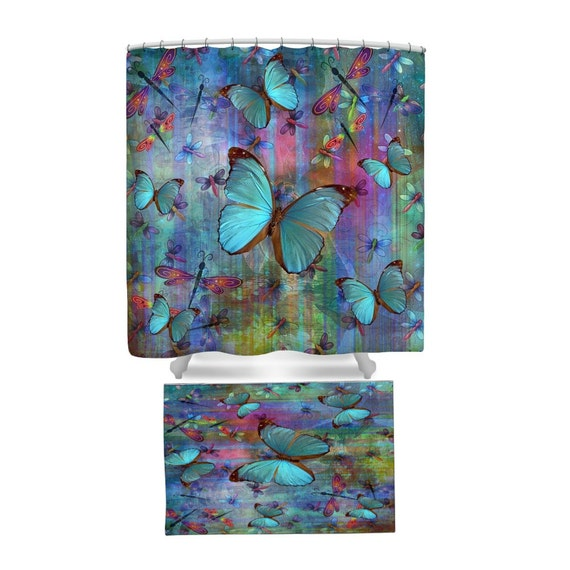 boho chic dragonfly butterfly shower curtain rug by