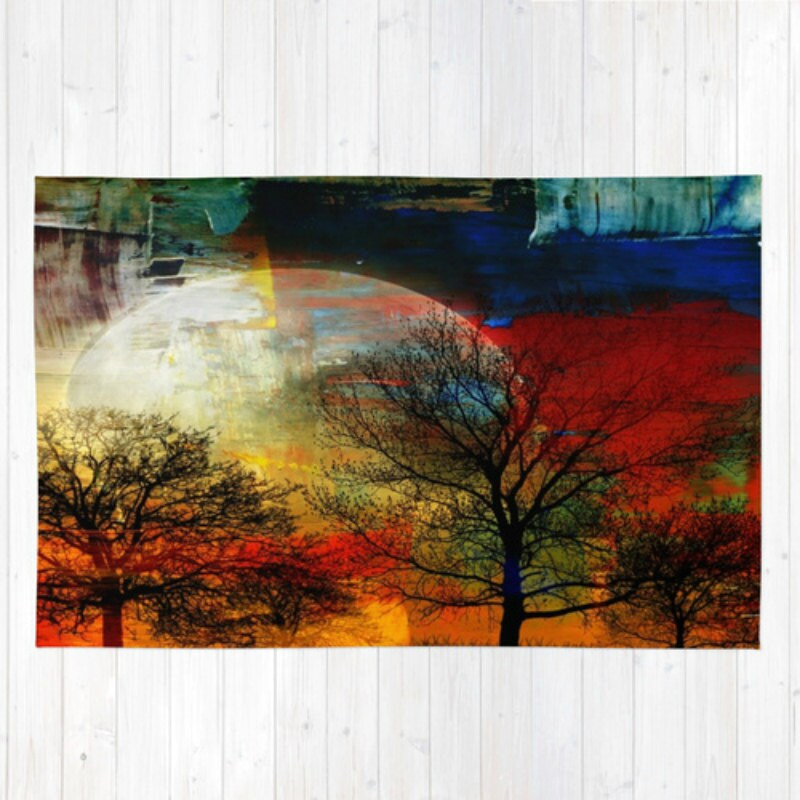 Abstract Trees Area Rug Throw Rugs Forest Moon Colorful Lodge