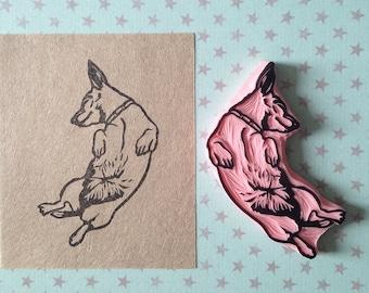 Dog rubber stamp - hand carved - pet lover gift - dog stamp - doggy - stamp