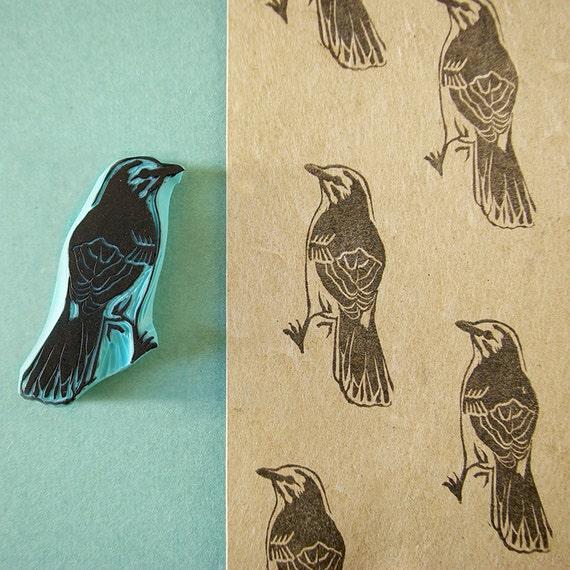 Bird stamp hand carved mocking black