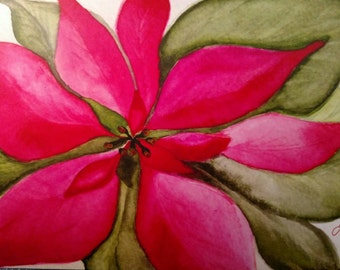 Watercolor Poinsettia Christmas cards. Original artwork by Trista Collins