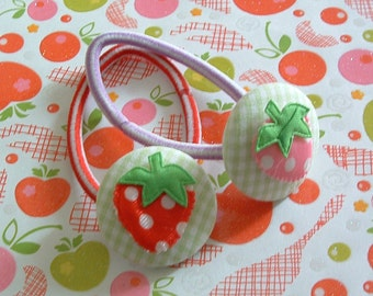 Strawberries and Gingham Plaid button Ponytail Holders for the Holidays