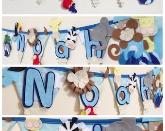 Noah's ark animal bunting decoration