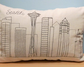 Seattle Skyline Pillow, Throw Pillow Cover, Embroidered Cushion, Space Needle, Cityscape Throw Pillow