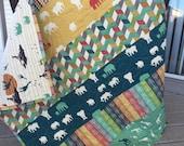 Organic baby quilt, birch serengeti, safari animals, giraffes, elephants, mint-teal-yellow