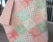 Brambleberry ridge baby quilt, pink-mint-coral-gold shimmer